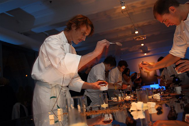 Grant Achatz and the Alinea chefs paint on their glass canvas