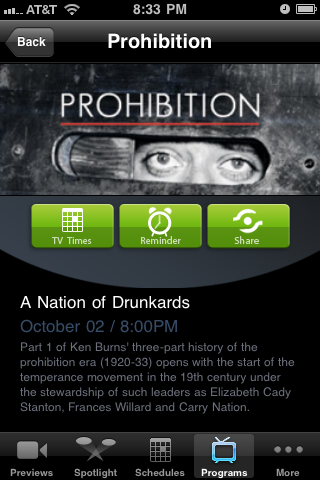 Prohibition - PBS App for iPhone