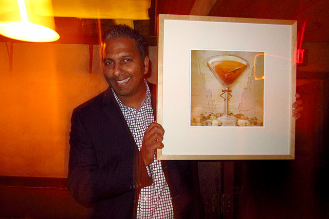 Nishant Narayan with Manhattan cocktail print