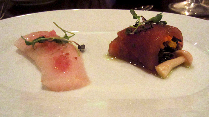 Duo of raw yellowtail and tuna