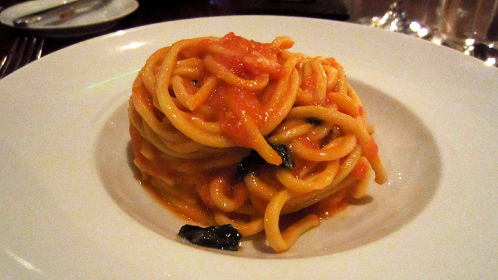Spaghetti with tomato and basil at Scarpetta
