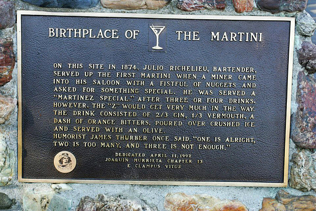 Birthplace of the Martini plaque in Martinez