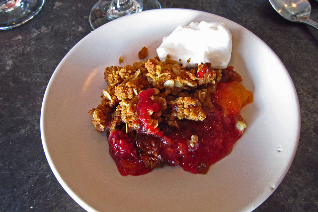 Peach and berry cobbler at Son of a Gun