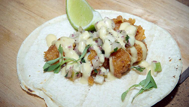 Crispy prawn taco at TRAVELocal Mexico
