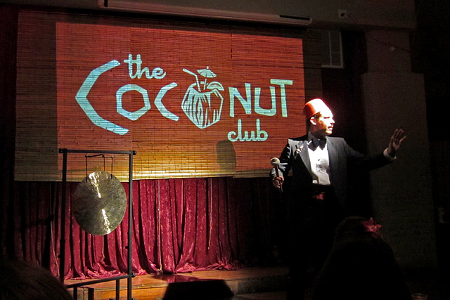 Darren Herczeg introduces a dinner course at The Coconut Club