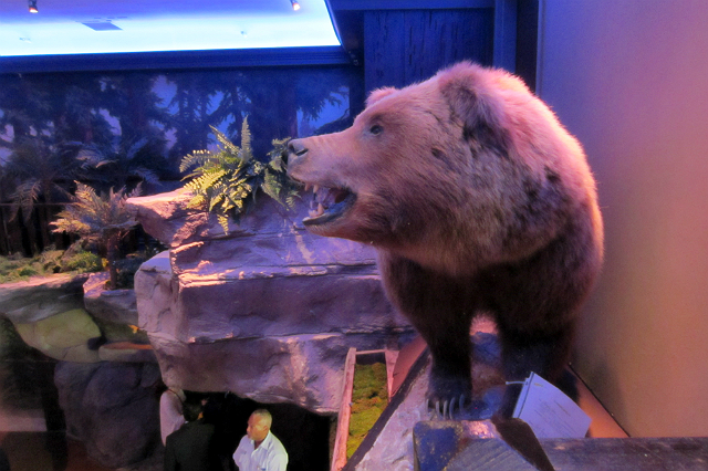 A bear watches over the Forest Glen at Clifton's Cafeteria