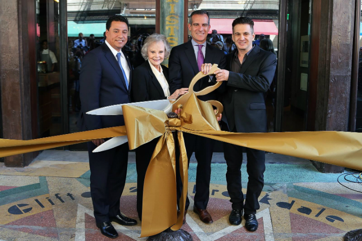 Councilman Jose Huizar, June Lockhart, Mayor Eric Garcetti and Andrew Meieran at the Clifton's Cafeteria ribbon cutting.