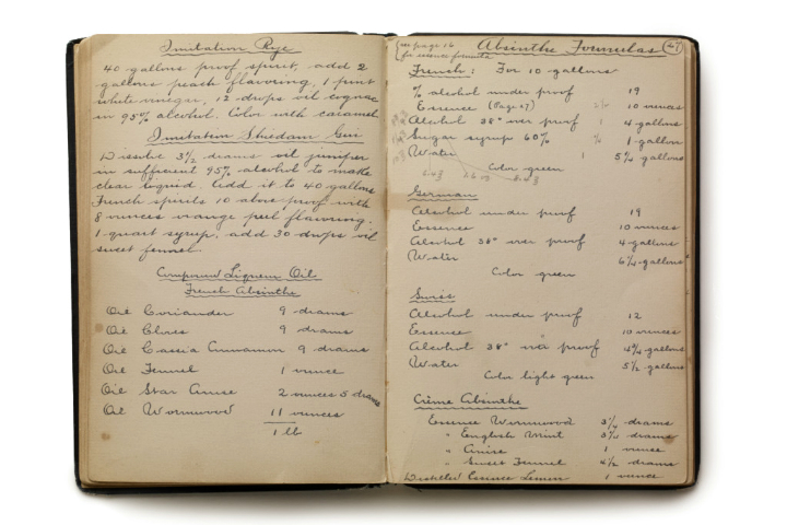 "Imitation rye and absinthe formulas from ""Lost Recipes of Prohibition"""