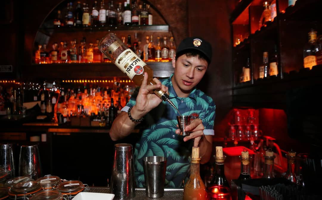 Chris Amirault makes the Armonía cocktail at Lost Property