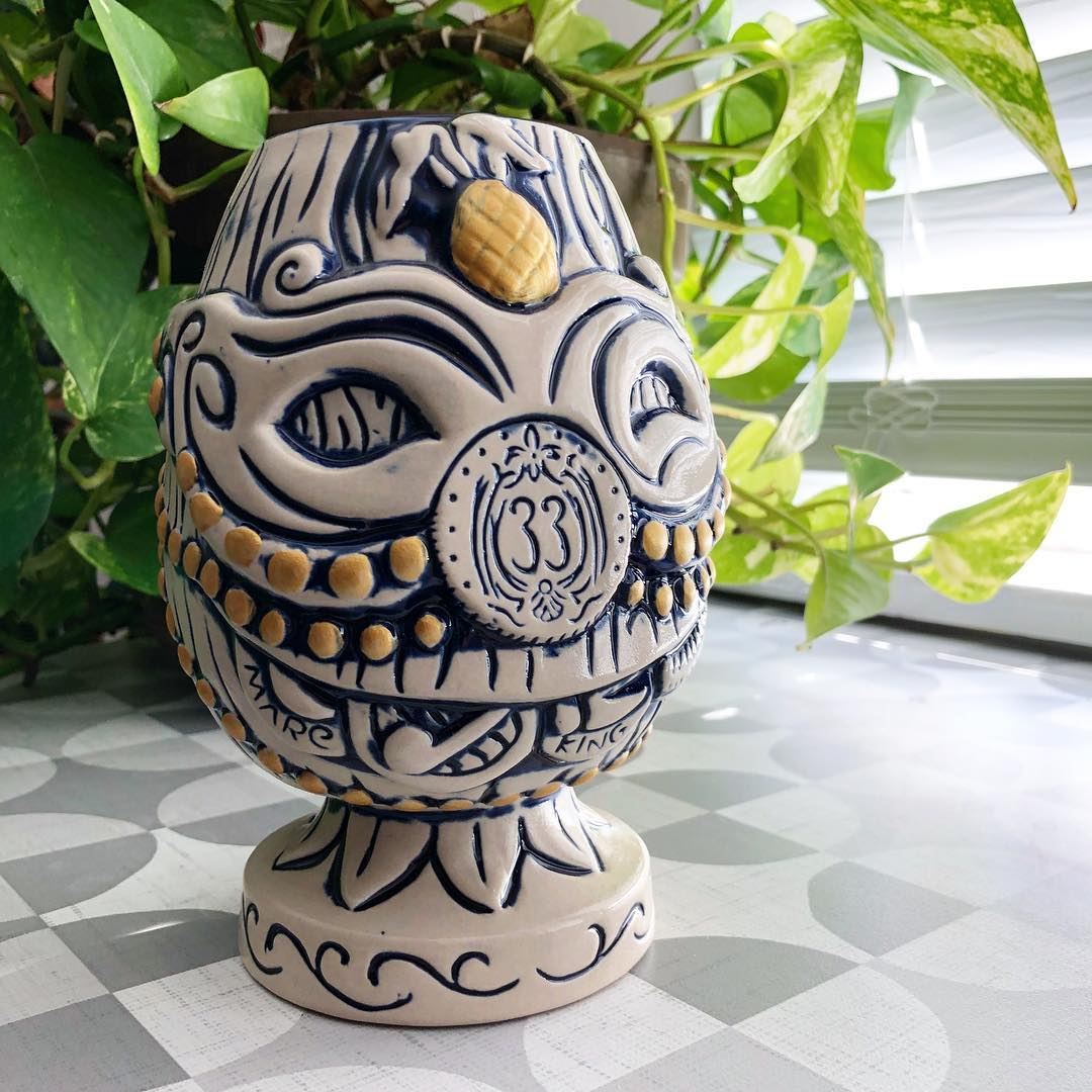 Throws and Maskers 2nd edition Tiki mug designed by Dave Stolte for Club 33