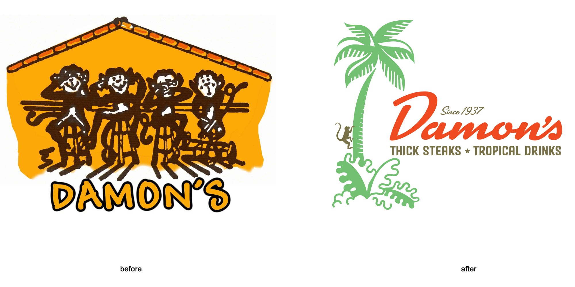 Before & after logos for Damon's in Glendale by Wexler of California