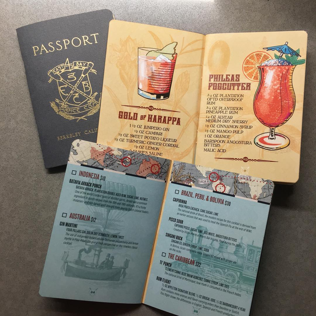Passport menu for East Bay Spice Company in Berkeley by Wexler of California
