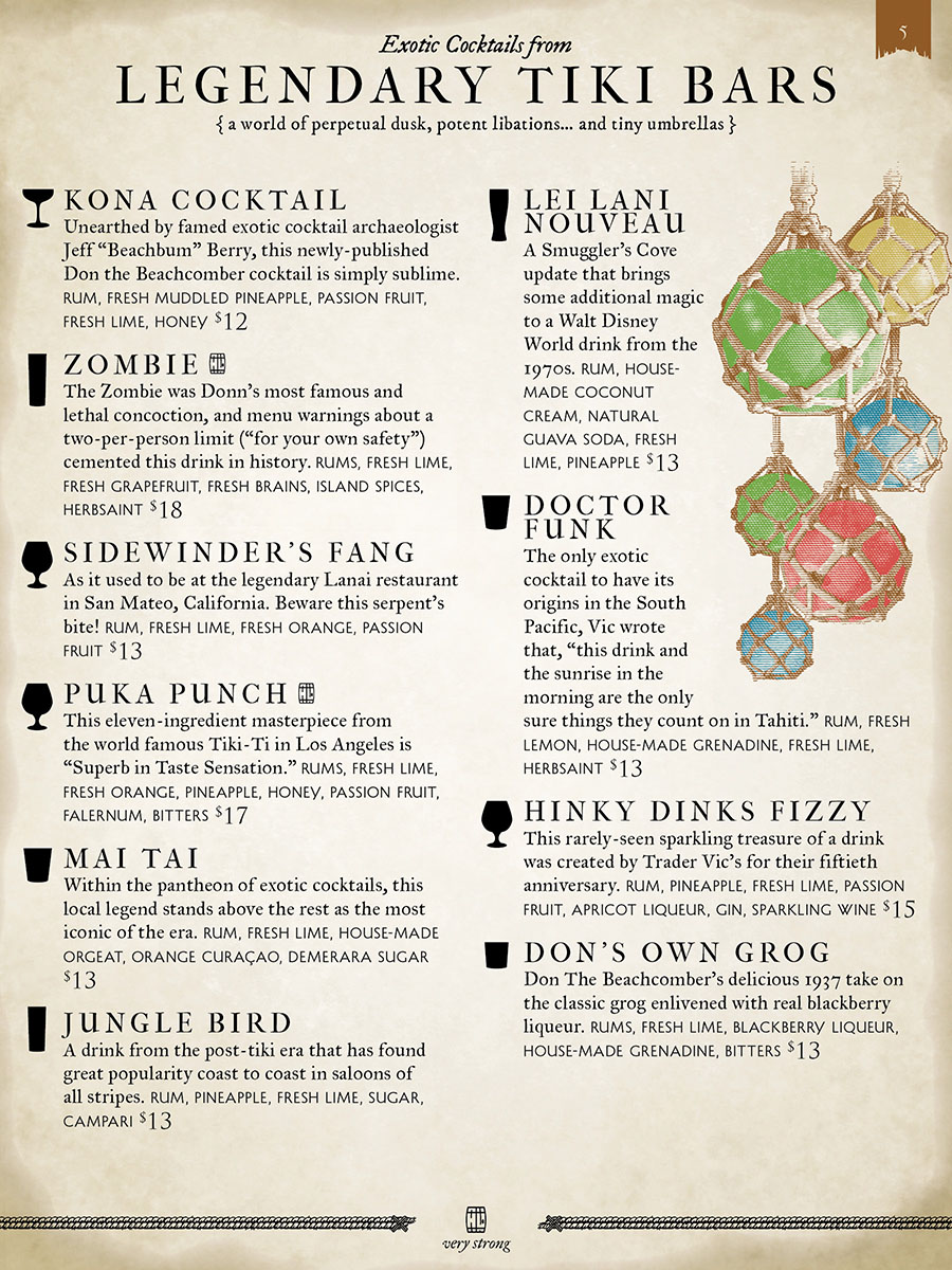 Page from the Smuggler's Cove cocktail menu